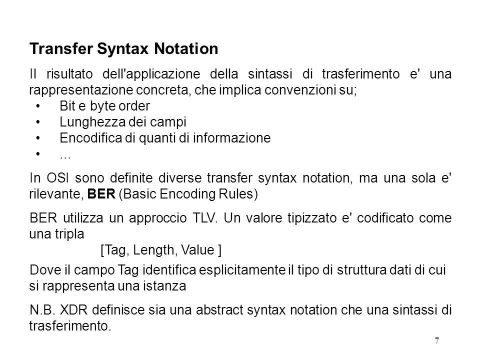 7 Transfer Syntax Notation Il risultato dell'applicazione della sintassi di trasferimento e' una rappresentazione concreta, che implica convenzioni su
