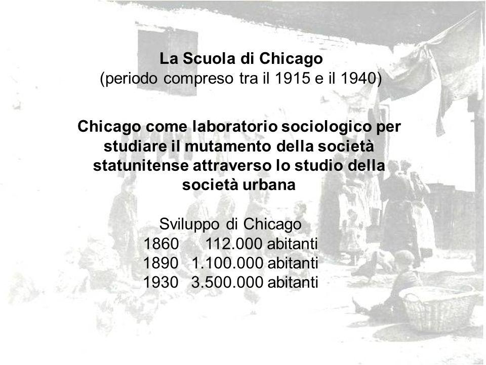 La Scuola di Chicago (periodo compreso tra il 1915 e il 1940) Chicago come laboratorio sociologico per studiare il mutamento della società statunitens