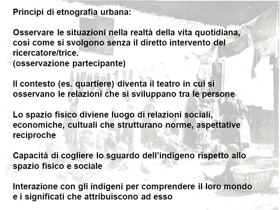 Principi di etnografia urbana: Osservare le situazioni nella realtà della vita quotidiana, così come si svolgono senza il diretto intervento del ricer