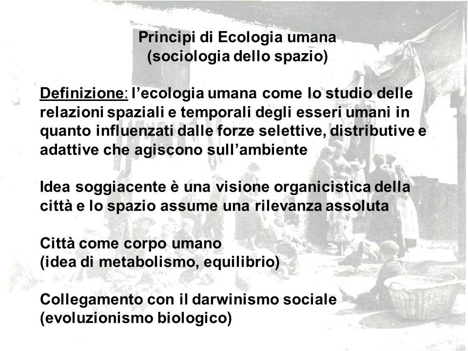 Principi di Ecologia umana (sociologia dello spazio) Definizione: lecologia umana come lo studio delle relazioni spaziali e temporali degli esseri uma