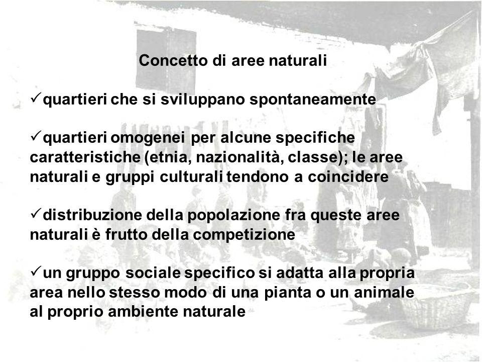 Concetto di aree naturali quartieri che si sviluppano spontaneamente quartieri omogenei per alcune specifiche caratteristiche (etnia, nazionalità, cla