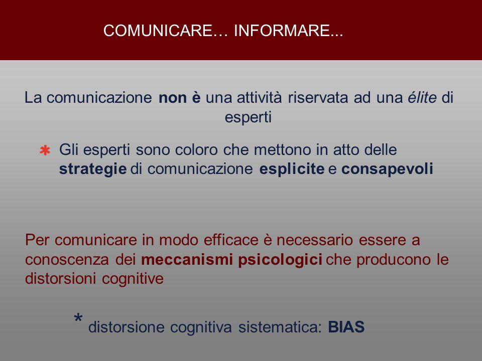 La comunicazione non è una attività riservata ad una élite di esperti Gli esperti sono coloro che mettono in atto delle strategie di comunicazione esp