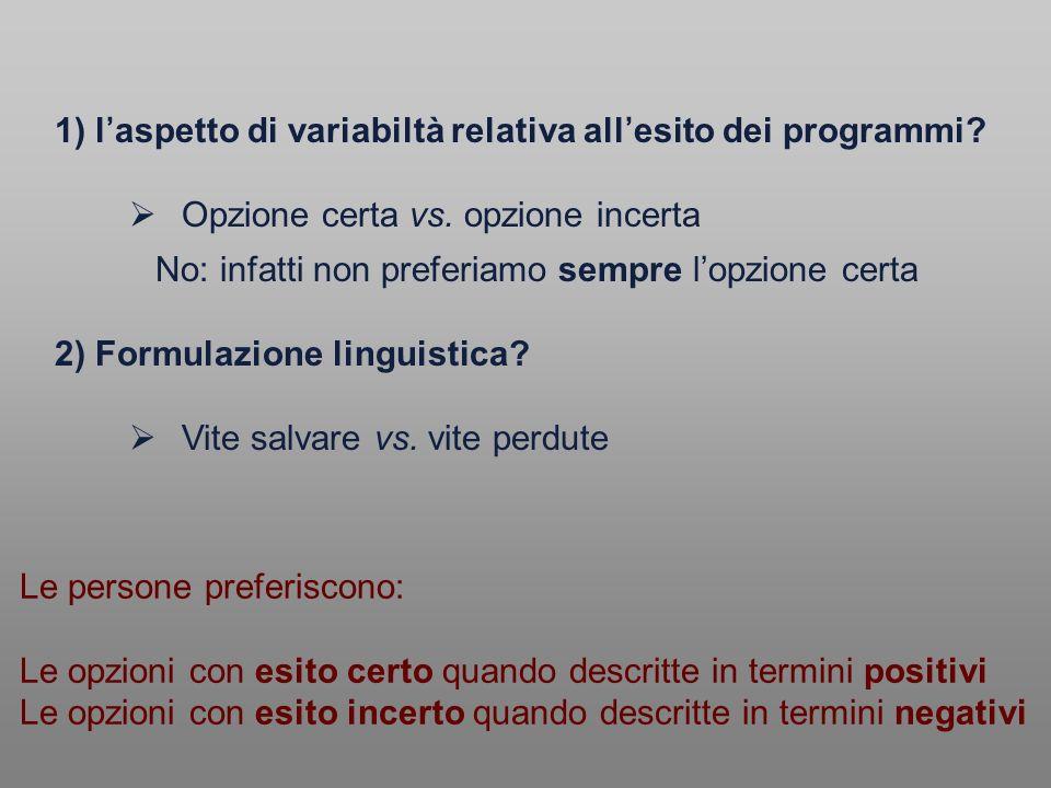 1) laspetto di variabiltà relativa allesito dei programmi? Opzione certa vs. opzione incerta No: infatti non preferiamo sempre lopzione certa 2) Formu