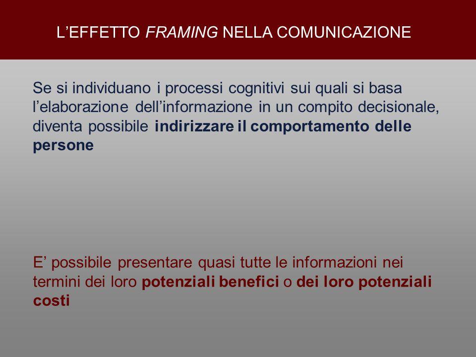 Se si individuano i processi cognitivi sui quali si basa lelaborazione dellinformazione in un compito decisionale, diventa possibile indirizzare il co