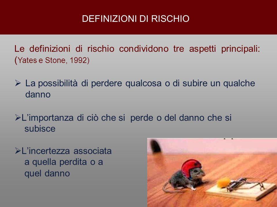 DEFINIZIONI DI RISCHIO La possibilità di perdere qualcosa o di subire un qualche danno Le definizioni di rischio condividono tre aspetti principali: (