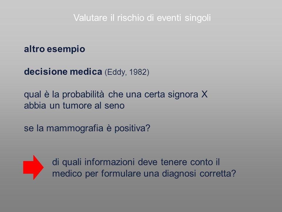 Valutare il rischio di eventi singoli altro esempio decisione medica (Eddy, 1982) qual è la probabilità che una certa signora X abbia un tumore al sen