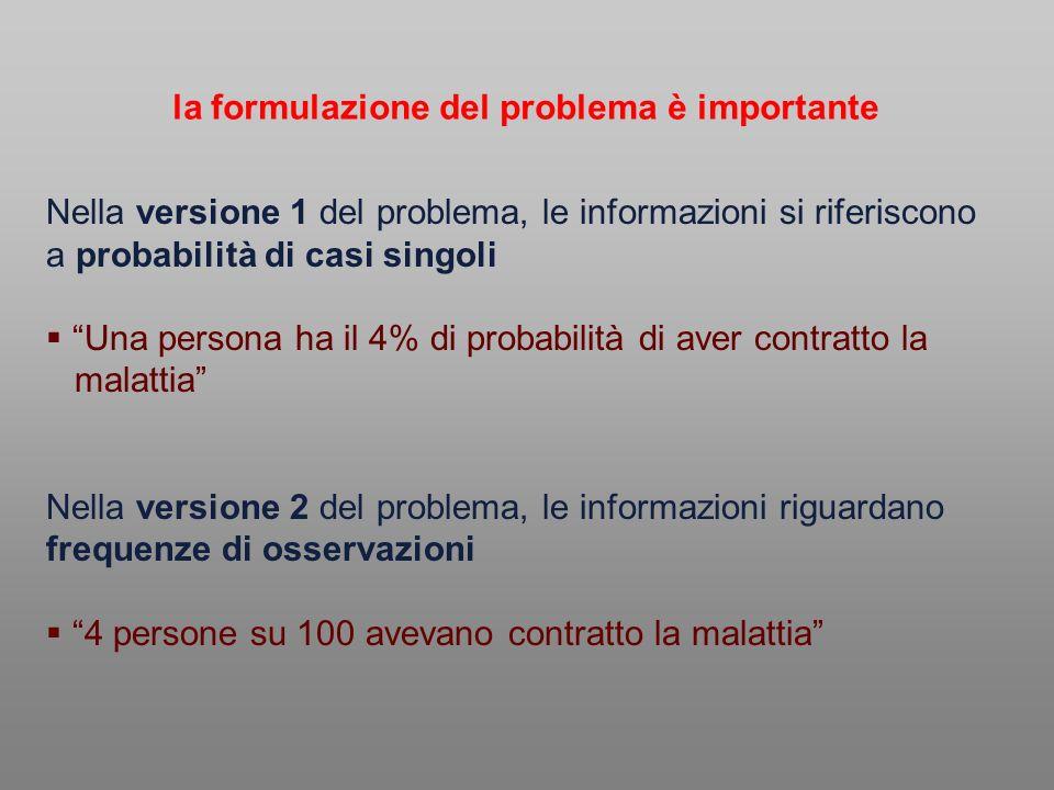 Nella versione 1 del problema, le informazioni si riferiscono a probabilità di casi singoli Una persona ha il 4% di probabilità di aver contratto la m