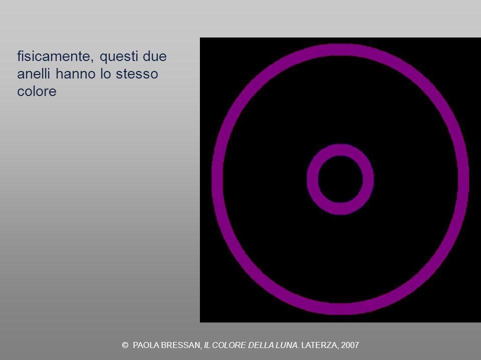 © PAOLA BRESSAN, IL COLORE DELLA LUNA. LATERZA, 2007 fisicamente, questi due anelli hanno lo stesso colore