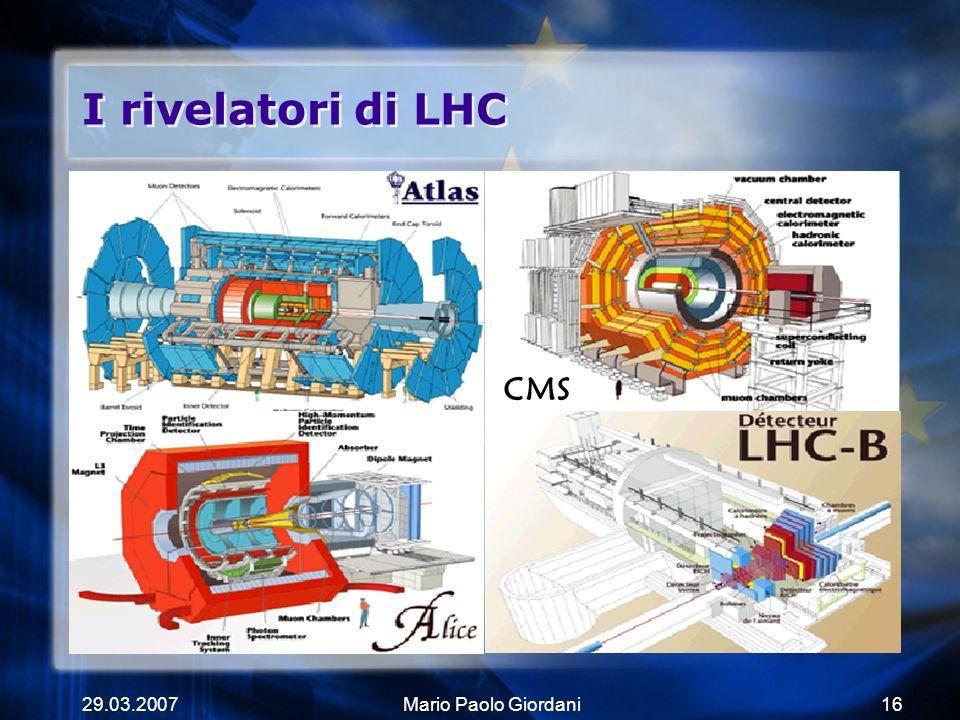 29.03.2007Mario Paolo Giordani16 I rivelatori di LHC CMS