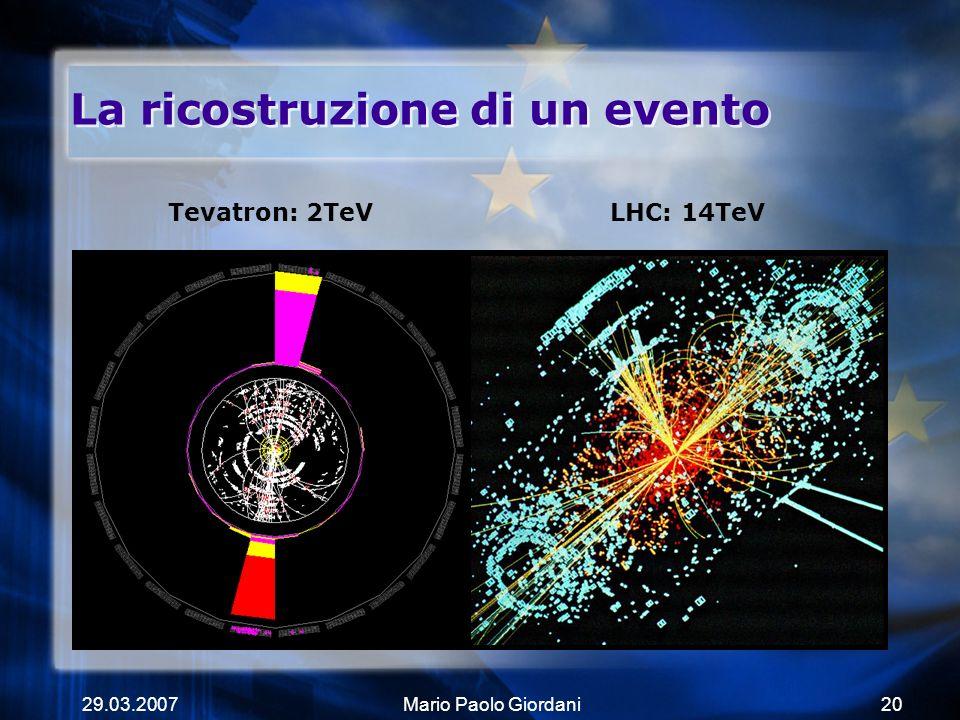 29.03.2007Mario Paolo Giordani20 La ricostruzione di un evento Tevatron: 2TeVLHC: 14TeV