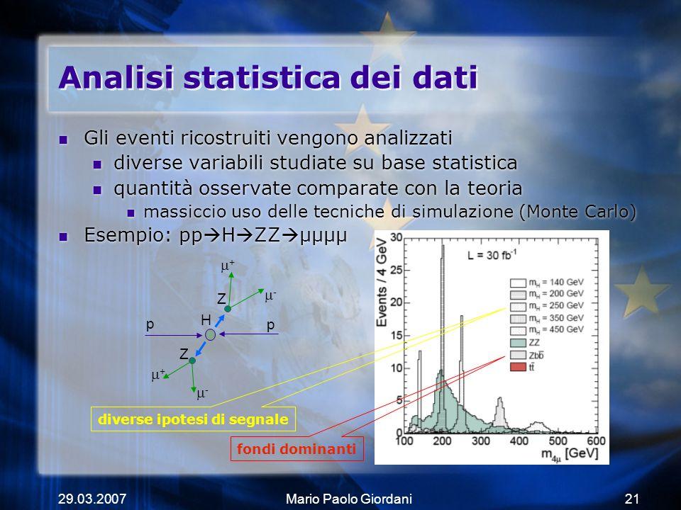 29.03.2007Mario Paolo Giordani21 Analisi statistica dei dati Gli eventi ricostruiti vengono analizzati diverse variabili studiate su base statistica q