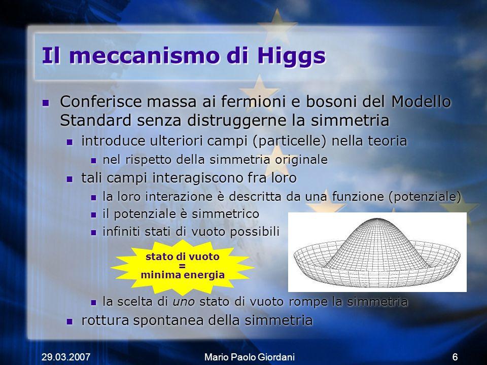 29.03.2007Mario Paolo Giordani6 Il meccanismo di Higgs Conferisce massa ai fermioni e bosoni del Modello Standard senza distruggerne la simmetria intr