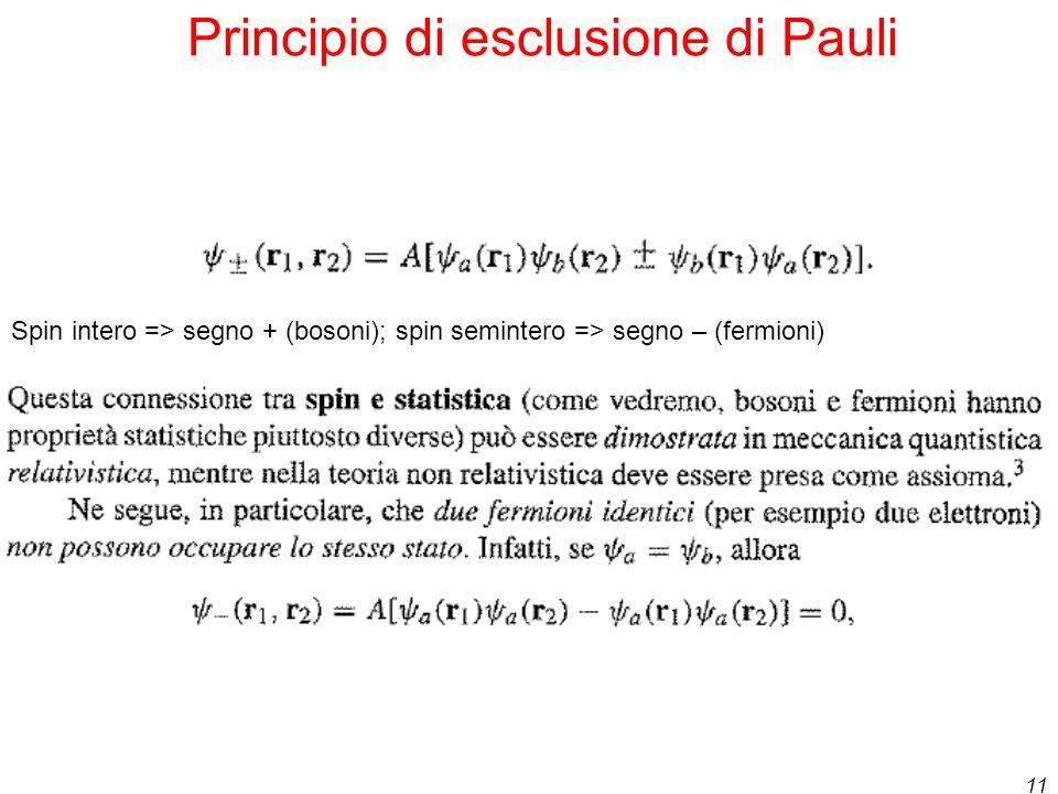 11 Principio di esclusione di Pauli Spin intero => segno + (bosoni); spin semintero => segno – (fermioni)