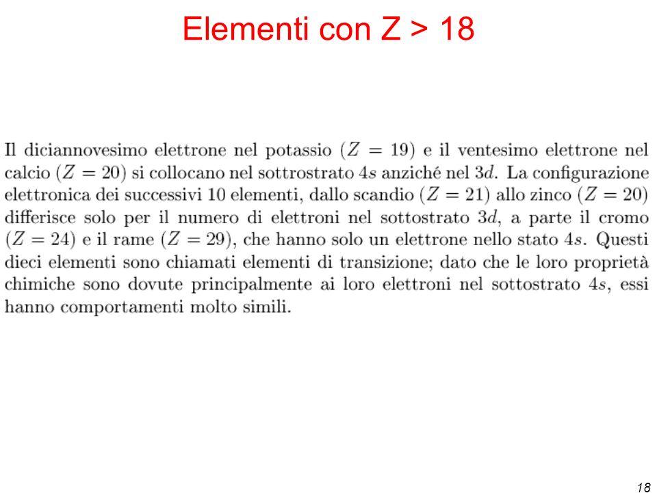 18 Elementi con Z > 18