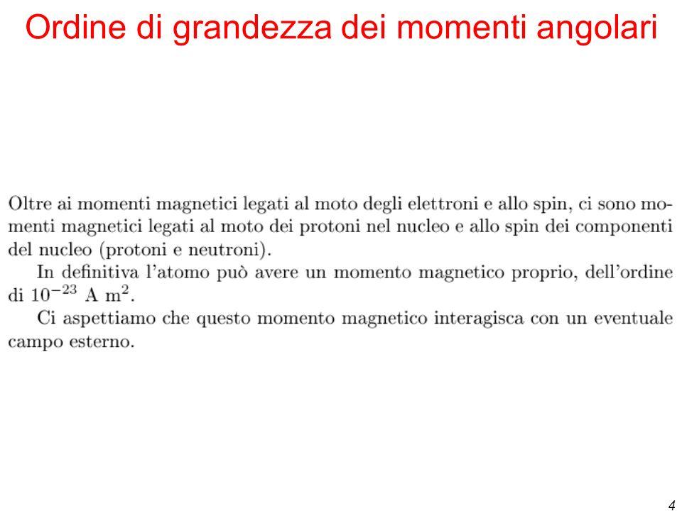 4 Ordine di grandezza dei momenti angolari