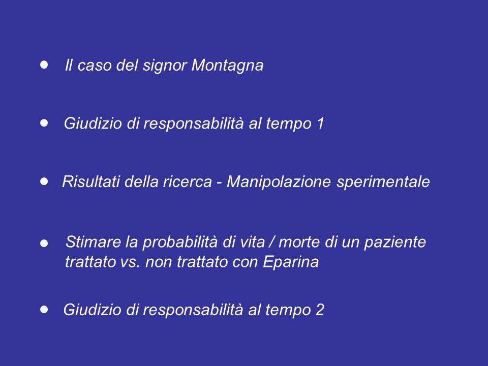 Il caso del signor Montagna Giudizio di responsabilità al tempo 2 Stimare la probabilità di vita / morte di un paziente trattato vs.