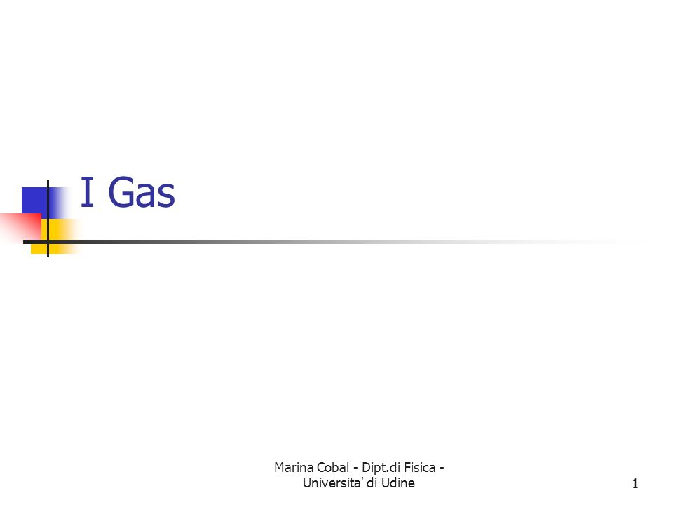 Marina Cobal - Dipt.di Fisica - Universita' di Udine1 I Gas