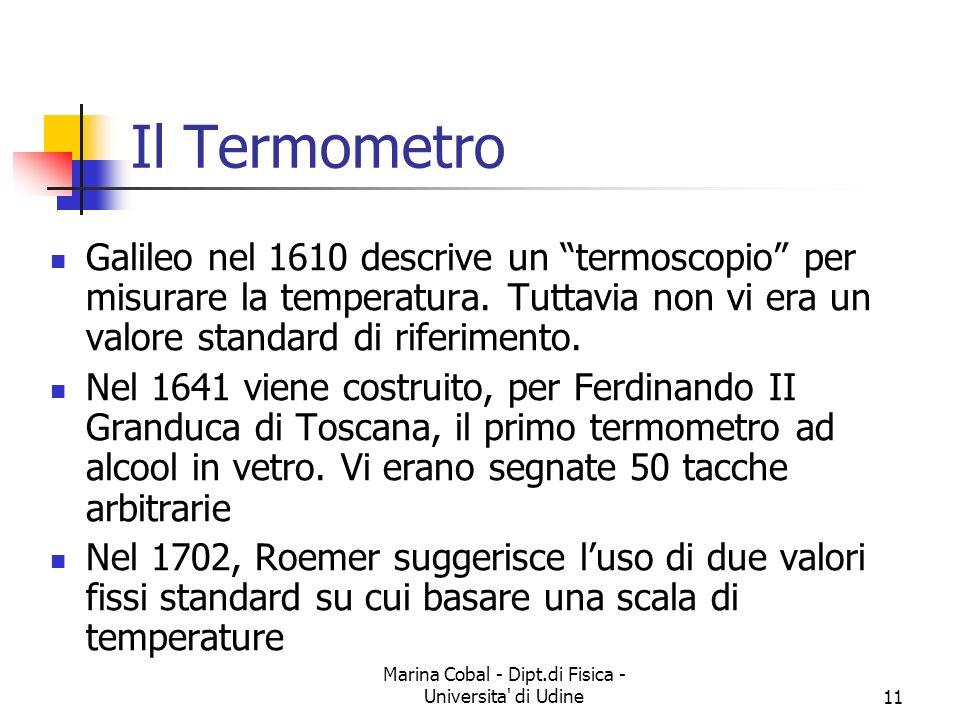 Marina Cobal - Dipt.di Fisica - Universita di Udine11 Il Termometro Galileo nel 1610 descrive un termoscopio per misurare la temperatura.