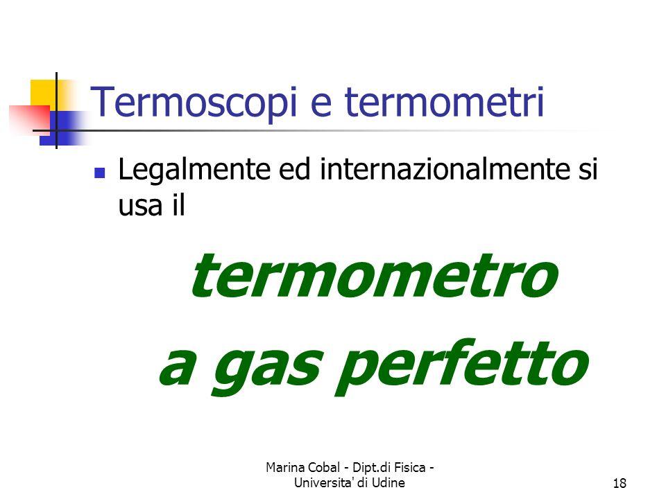 Marina Cobal - Dipt.di Fisica - Universita' di Udine18 Termoscopi e termometri Legalmente ed internazionalmente si usa il termometro a gas perfetto