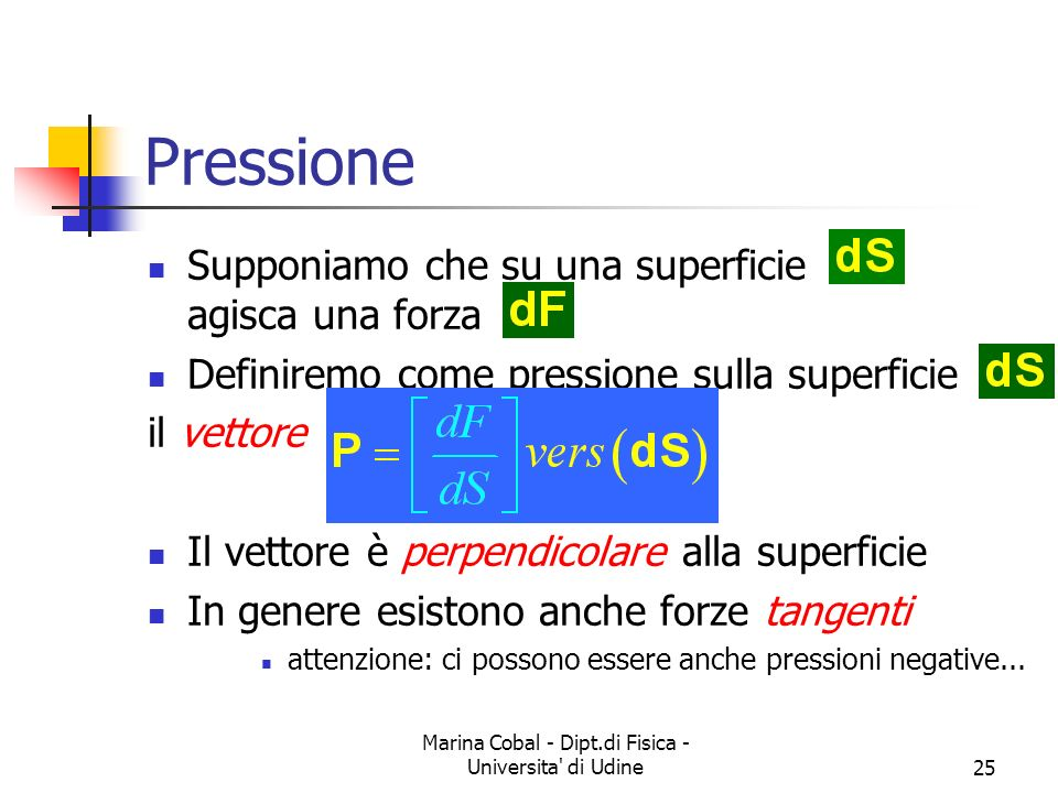 Marina Cobal - Dipt.di Fisica - Universita di Udine25 Pressione Supponiamo che su una superficie agisca una forza Definiremo come pressione sulla superficie il vettore Il vettore è perpendicolare alla superficie In genere esistono anche forze tangenti attenzione: ci possono essere anche pressioni negative...