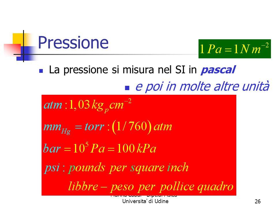 Marina Cobal - Dipt.di Fisica - Universita' di Udine26 Pressione La pressione si misura nel SI in pascal e poi in molte altre unità