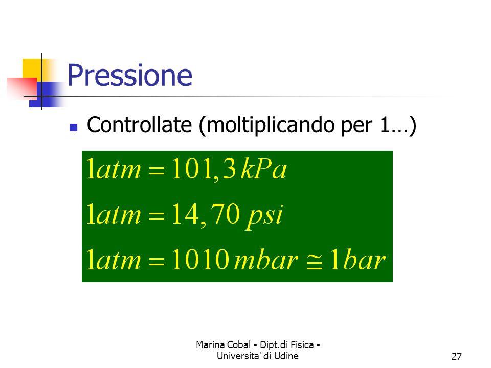 Marina Cobal - Dipt.di Fisica - Universita' di Udine27 Pressione Controllate (moltiplicando per 1…)