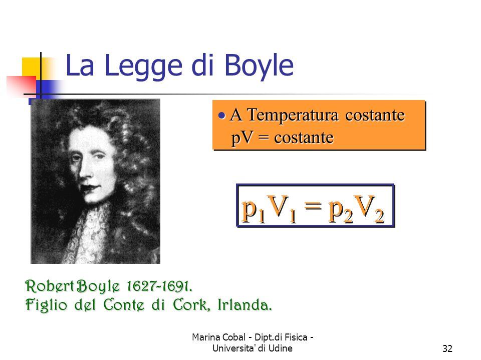 Marina Cobal - Dipt.di Fisica - Universita di Udine32 p 1 V 1 = p 2 V 2 La Legge di Boyle A Temperatura costante pV = costante A Temperatura costante pV = costante Robert Boyle 1627-1691.