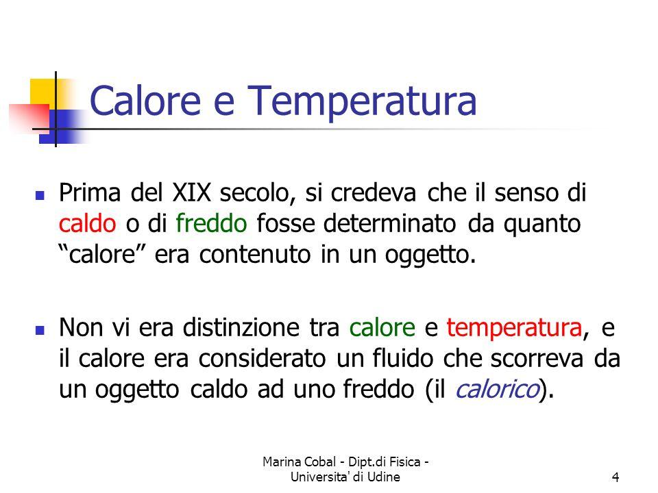Marina Cobal - Dipt.di Fisica - Universita' di Udine4 Calore e Temperatura Prima del XIX secolo, si credeva che il senso di caldo o di freddo fosse de