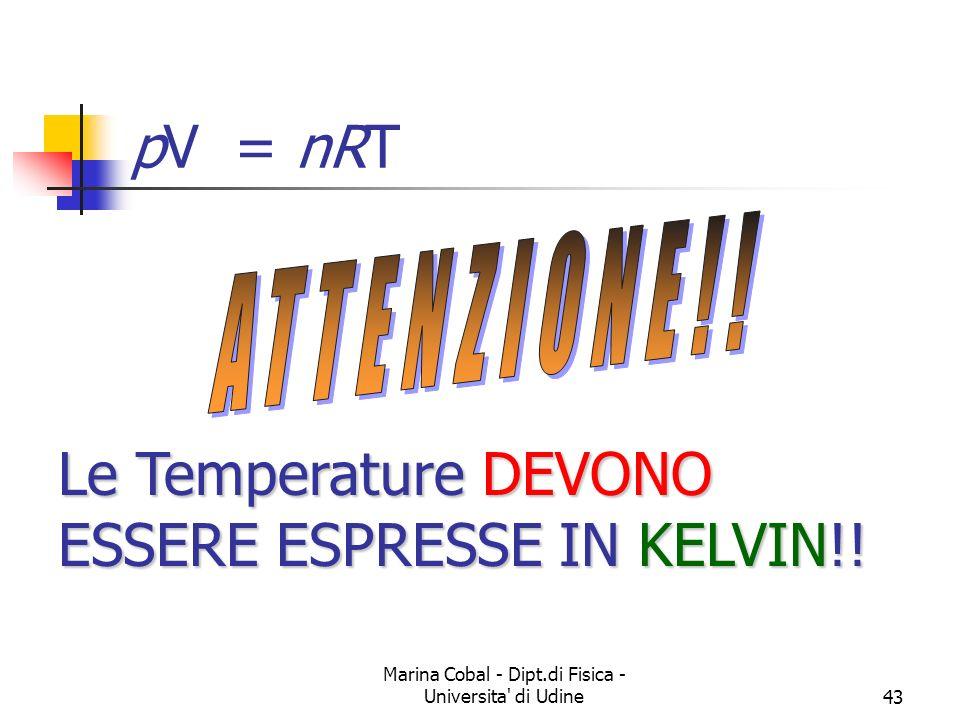 Marina Cobal - Dipt.di Fisica - Universita' di Udine43 Le Temperature DEVONO ESSERE ESPRESSE IN KELVIN!! pV = nRT