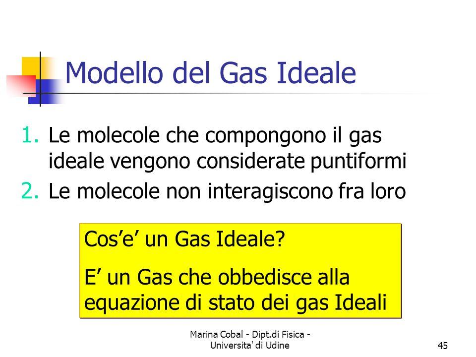 Marina Cobal - Dipt.di Fisica - Universita' di Udine45 Modello del Gas Ideale 1. Le molecole che compongono il gas ideale vengono considerate puntifor