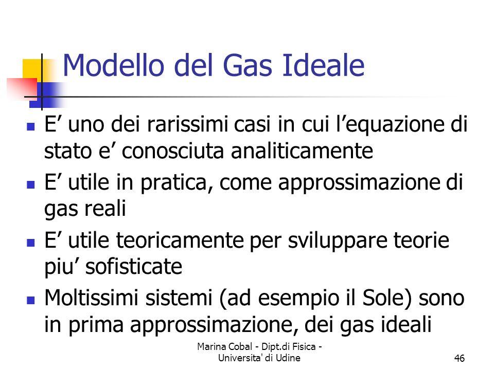 Marina Cobal - Dipt.di Fisica - Universita di Udine46 E uno dei rarissimi casi in cui lequazione di stato e conosciuta analiticamente E utile in pratica, come approssimazione di gas reali E utile teoricamente per sviluppare teorie piu sofisticate Moltissimi sistemi (ad esempio il Sole) sono in prima approssimazione, dei gas ideali Modello del Gas Ideale