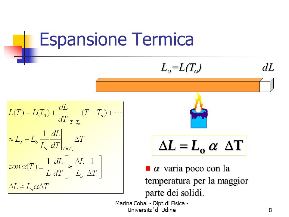Marina Cobal - Dipt.di Fisica - Universita di Udine8 L o =L(T o ) dL Espansione Termica L L o T L L o T varia poco con la temperatura per la maggior parte dei solidi.