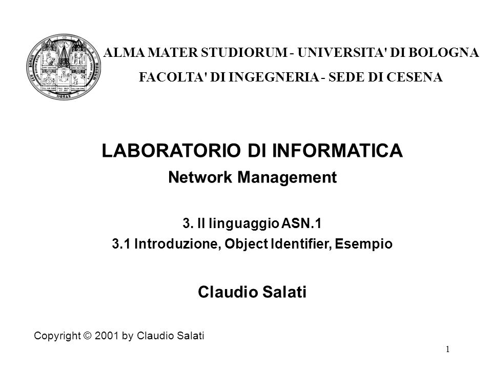 1 LABORATORIO DI INFORMATICA Network Management 3.