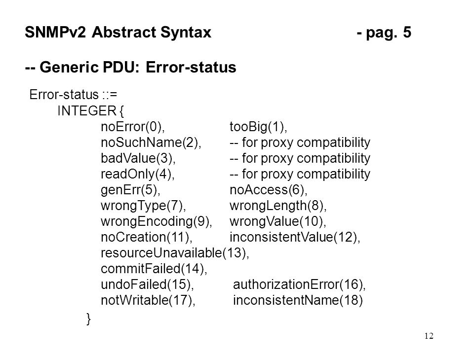 12 SNMPv2 Abstract Syntax- pag.
