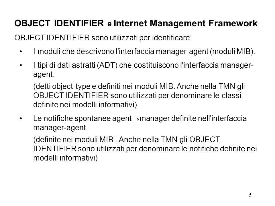 5 OBJECT IDENTIFIER e Internet Management Framework OBJECT IDENTIFIER sono utilizzati per identificare: I moduli che descrivono l interfaccia manager-agent (moduli MIB).