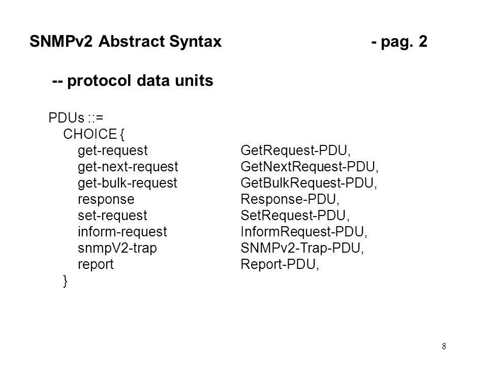 8 SNMPv2 Abstract Syntax- pag.