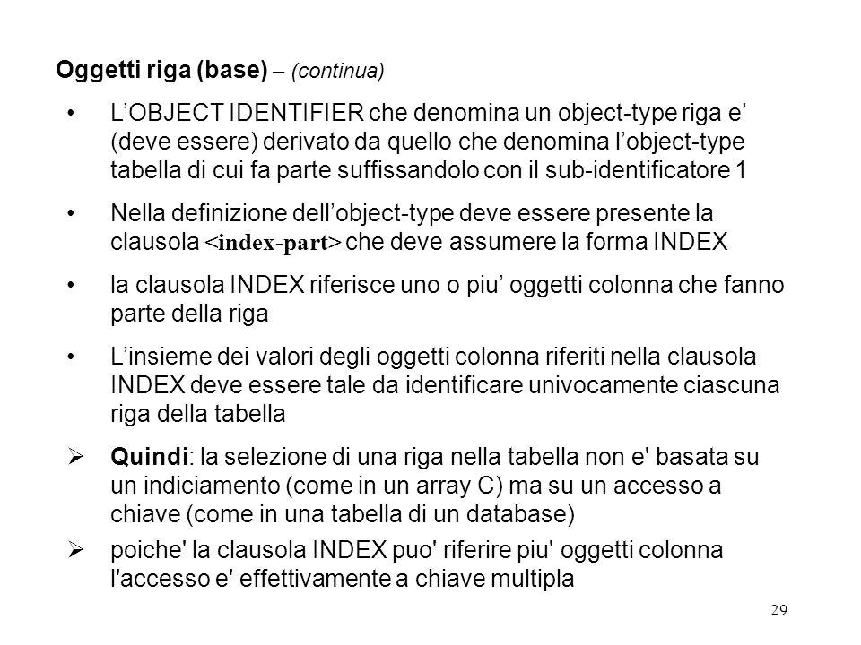 29 Oggetti riga (base) – (continua) LOBJECT IDENTIFIER che denomina un object-type riga e (deve essere) derivato da quello che denomina lobject-type tabella di cui fa parte suffissandolo con il sub-identificatore 1 Nella definizione dellobject-type deve essere presente la clausola che deve assumere la forma INDEX la clausola INDEX riferisce uno o piu oggetti colonna che fanno parte della riga Linsieme dei valori degli oggetti colonna riferiti nella clausola INDEX deve essere tale da identificare univocamente ciascuna riga della tabella Quindi: la selezione di una riga nella tabella non e basata su un indiciamento (come in un array C) ma su un accesso a chiave (come in una tabella di un database) poiche la clausola INDEX puo riferire piu oggetti colonna l accesso e effettivamente a chiave multipla