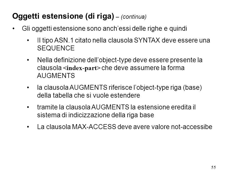 55 Oggetti estensione (di riga) – (continua) Gli oggetti estensione sono anchessi delle righe e quindi Il tipo ASN.1 citato nella clausola SYNTAX deve essere una SEQUENCE Nella definizione dellobject-type deve essere presente la clausola che deve assumere la forma AUGMENTS la clausola AUGMENTS riferisce lobject-type riga (base) della tabella che si vuole estendere tramite la clausola AUGMENTS la estensione eredita il sistema di indicizzazione della riga base La clausola MAX-ACCESS deve avere valore not-accessibe