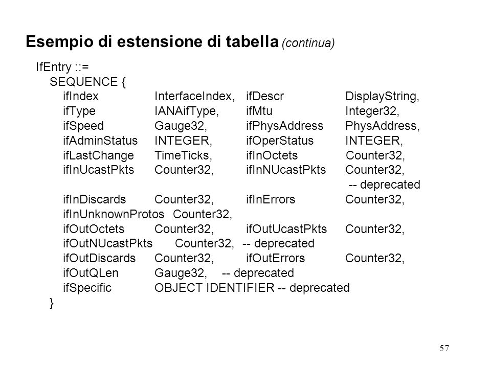 57 Esempio di estensione di tabella (continua) IfEntry ::= SEQUENCE { ifIndexInterfaceIndex,ifDescrDisplayString, ifTypeIANAifType,ifMtuInteger32, ifSpeedGauge32,ifPhysAddressPhysAddress, ifAdminStatusINTEGER,ifOperStatusINTEGER, ifLastChangeTimeTicks,ifInOctets Counter32, ifInUcastPktsCounter32,ifInNUcastPktsCounter32, -- deprecated ifInDiscardsCounter32,ifInErrorsCounter32, ifInUnknownProtos Counter32, ifOutOctetsCounter32,ifOutUcastPktsCounter32, ifOutNUcastPkts Counter32, -- deprecated ifOutDiscardsCounter32,ifOutErrorsCounter32, ifOutQLenGauge32, -- deprecated ifSpecificOBJECT IDENTIFIER -- deprecated }