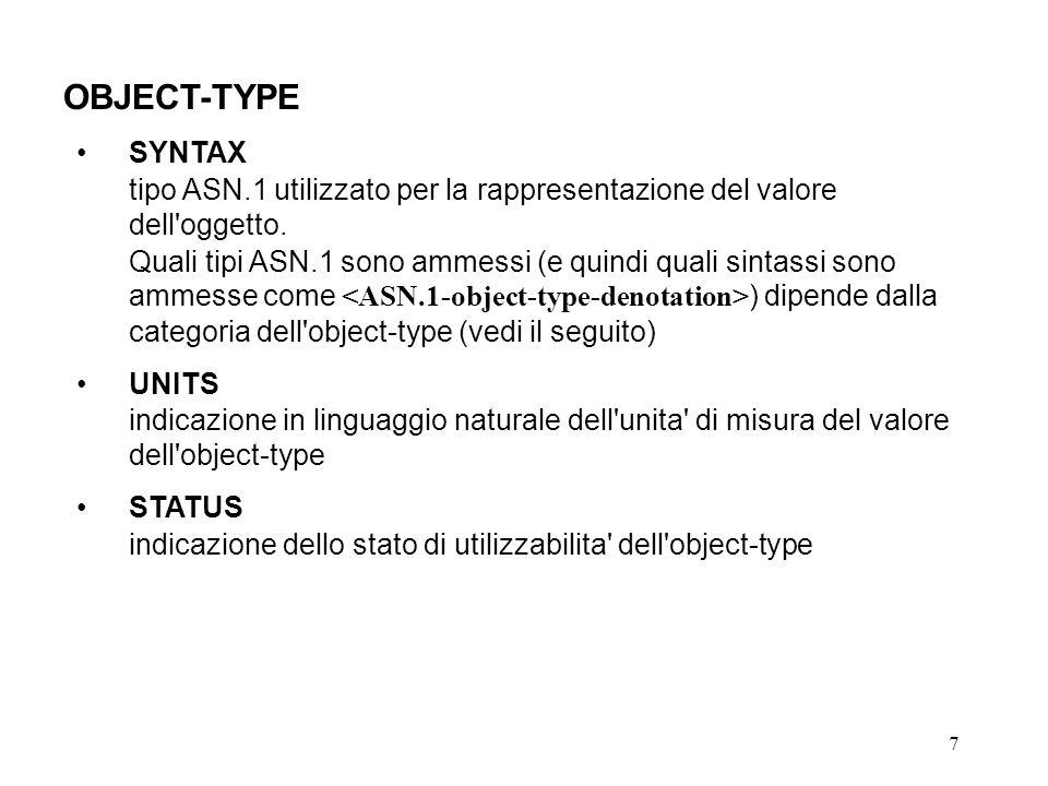 7 OBJECT-TYPE SYNTAX tipo ASN.1 utilizzato per la rappresentazione del valore dell oggetto.