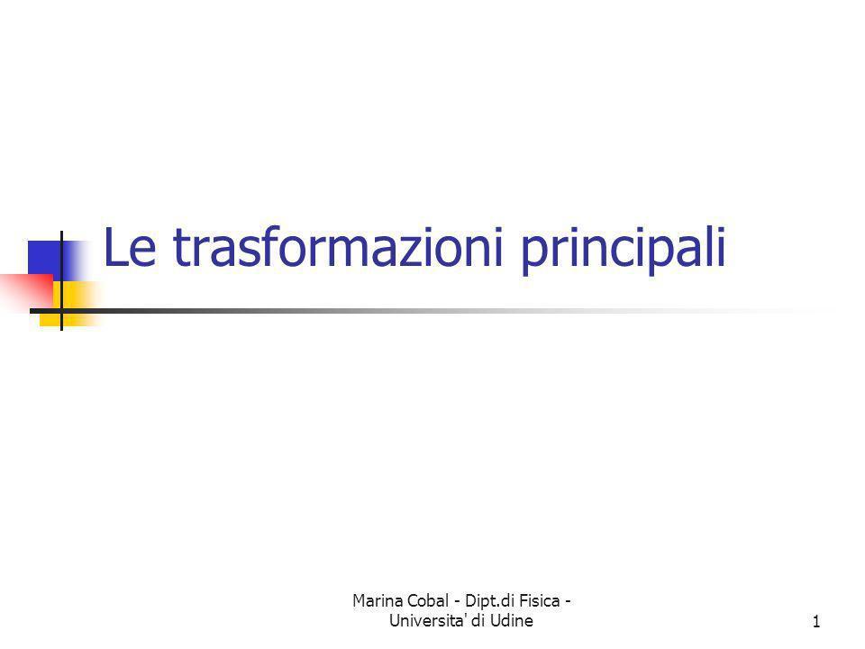Marina Cobal - Dipt.di Fisica - Universita' di Udine1 Le trasformazioni principali