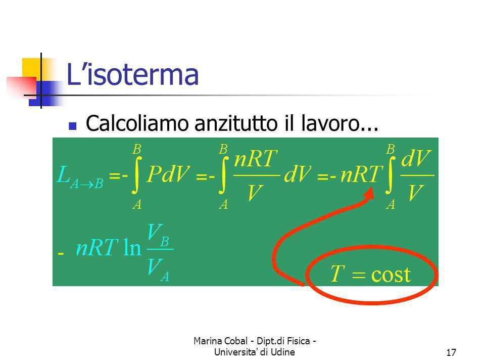Marina Cobal - Dipt.di Fisica - Universita' di Udine17 Lisoterma Calcoliamo anzitutto il lavoro... =- -