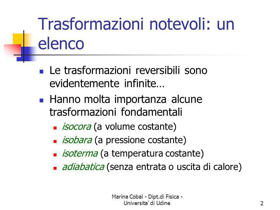 Marina Cobal - Dipt.di Fisica - Universita' di Udine2 Trasformazioni notevoli: un elenco Le trasformazioni reversibili sono evidentemente infinite… Ha
