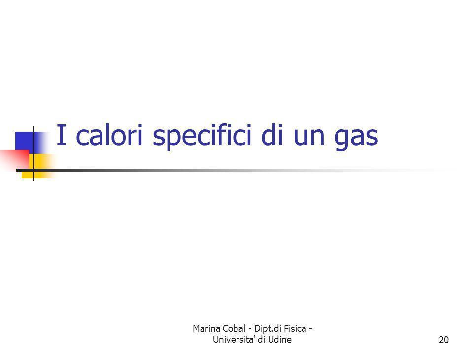 Marina Cobal - Dipt.di Fisica - Universita' di Udine20 I calori specifici di un gas