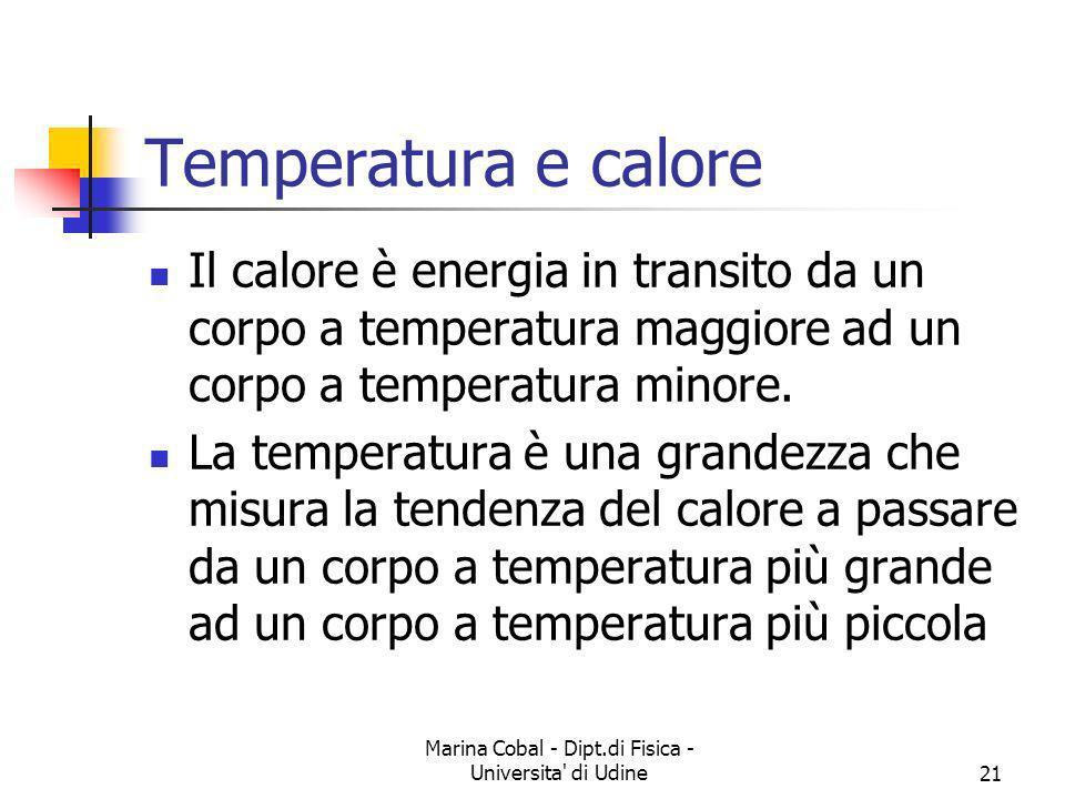 Marina Cobal - Dipt.di Fisica - Universita' di Udine21 Temperatura e calore Il calore è energia in transito da un corpo a temperatura maggiore ad un c
