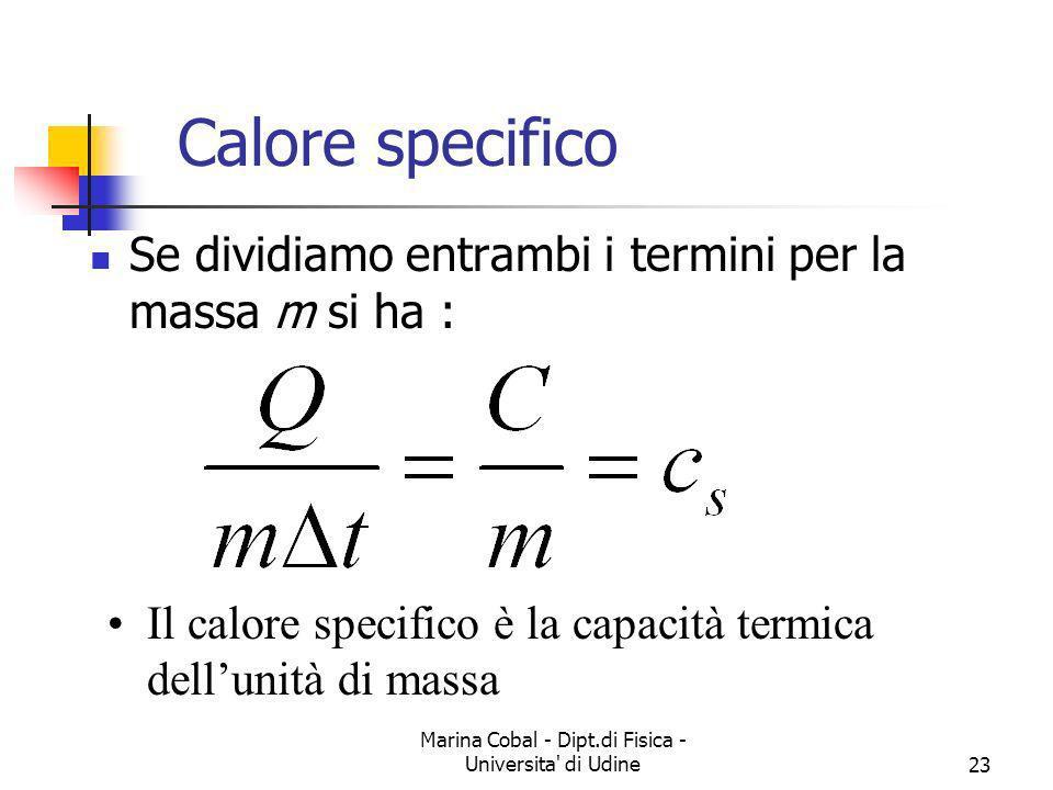 Marina Cobal - Dipt.di Fisica - Universita' di Udine23 Calore specifico Se dividiamo entrambi i termini per la massa m si ha : Il calore specifico è l