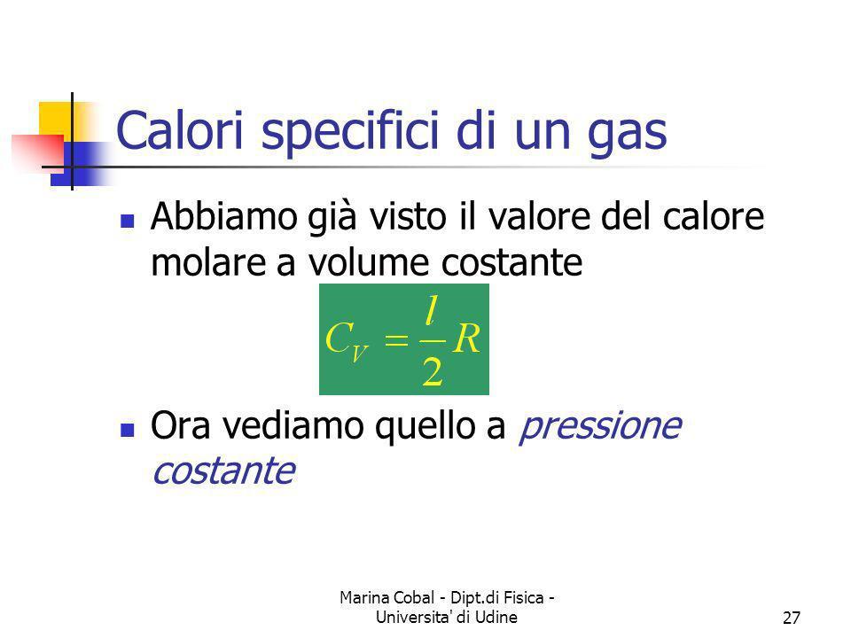 Marina Cobal - Dipt.di Fisica - Universita' di Udine27 Calori specifici di un gas Abbiamo già visto il valore del calore molare a volume costante Ora
