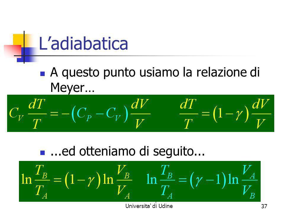 Marina Cobal - Dipt.di Fisica - Universita' di Udine37 Ladiabatica A questo punto usiamo la relazione di Meyer…...ed otteniamo di seguito...