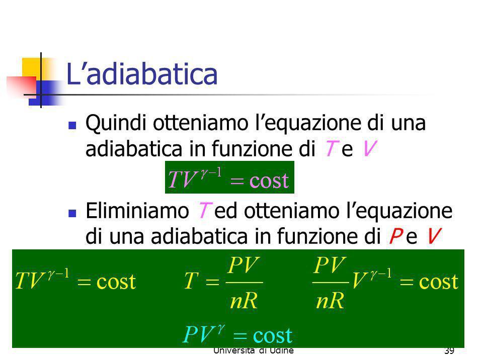 Marina Cobal - Dipt.di Fisica - Universita' di Udine39 Ladiabatica Quindi otteniamo lequazione di una adiabatica in funzione di T e V Eliminiamo T ed