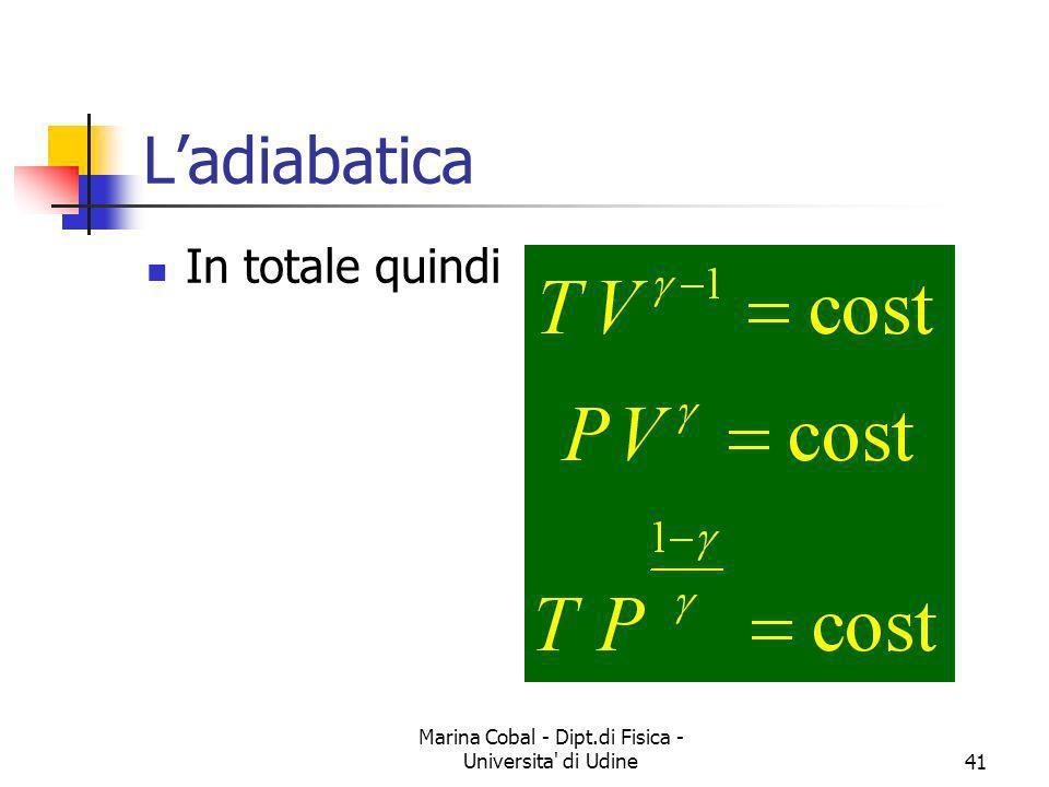 Marina Cobal - Dipt.di Fisica - Universita' di Udine41 Ladiabatica In totale quindi